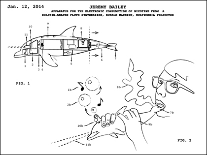 Patent Drawing #8 Apparatus for the Electronic Consumption of Nicotine from a Dolphin-Shaped flute synthesizer